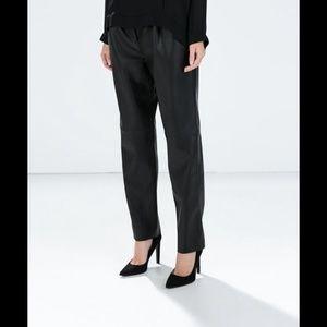 Zara Basics Faux Leather Black Pants w Zipper XS